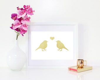 DIGITAL DOWNLOAD, Gold Love Birds, Birds Art, Lovebirds