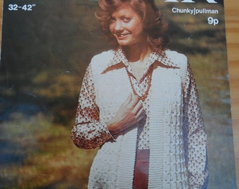 Original vintage knitting pattern by Sirdar for a ladies waistcoat knitted in chunky wool