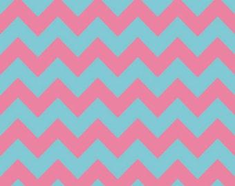 Riley Blake Designs Medium Chevron in Pink & Aqua 100% Cotton