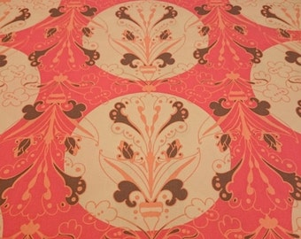 FreeSpirit Full Moon Cotton Fabric Nochella Top Drawer Large Scale Pattern in Coral