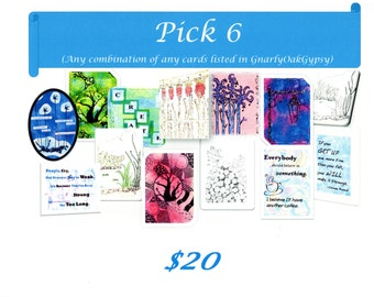 Pick Six Cards with envelopes for 20 Dollars, Pick any six cards for the price of five, Pick any combination of cards listed