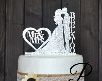 Personalized Wedding Cake Topper- Silver & Gold! Custom Made