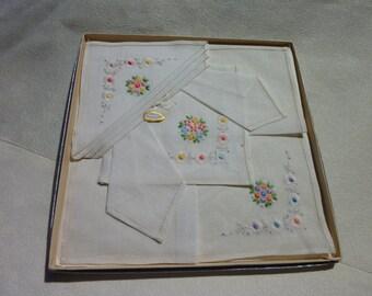 Vintage Muslin Cotton Handkerchief -Women Handkerchiefs -Hand Embroidered Floral Design- Dainty Ladies Hanky - Still in Original Box