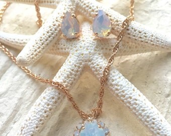 Opal Moonstone pear and crystal pave rosegold set