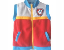 PPV Paw Patrol Ryder Vest Unisex Gift Party Boy Girl Soft Fleece real 2 pockets Embroidery All Season Very Soft Handmade
