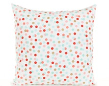Pink Gold and Mint Polka Dot Throw Pillow Cover, Pink and Gold Pillow, Mint Green Pillowcase, Nursery Polka Dot Pillows, Metallic Gold