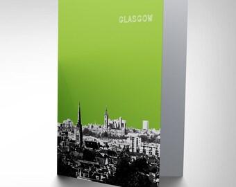 Glasgow Card - Scottish Cityscape View Scotland Skyline Art Blank Greetings Card CP137