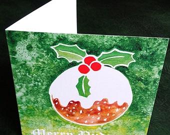 Christmas pudding, pudding card, xmas pudding card, xmas pudding painting, watercolour xmas card, watercolour Christmas card