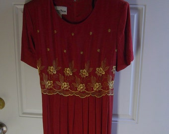 Vintage 90's Burnt Orange Maxi Dress by Another Thyme, Size 14