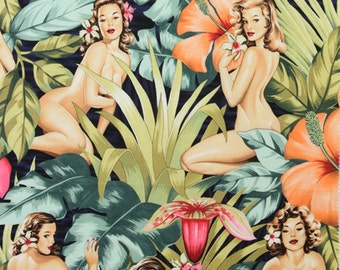 Alexander Henry Mirage - Tropical Hibiscus Pin Up Girl Fabric - Navy - Per 1/2 metre - 100% Cotton