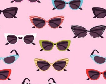 Riley Blake Glasses - vintage inspired novelty 50s sunglasses Fabric - Pink - Per 1/2 metre - 100% Cotton