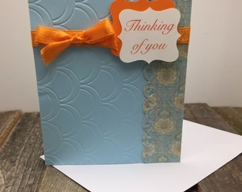 Thinking of You Card, Blue and Orange Thinking of You Card, Floral Thinking of you Card, Whimsical Thinking of You Card, Thinking of You