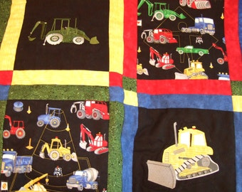Construction Twin Quilt, Toddler Boys Quilt, Primary Colors Quilt, Patchwork Quilt, Embroidered Quilt, Construction Bedding, Bulldozer Quilt