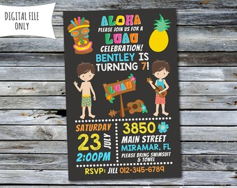 Boys Luau Invitation / Luau Birthday Invitation / Pool Party Invitation (Personalized) Digital Printable File