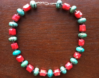 Turquoise and Red Coral Necklace, Free Shipping