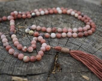 108 plus 1 guru bead pink lepidolite mala necklace