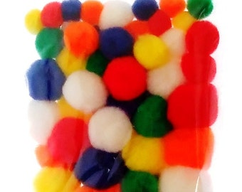 Pom Poms Coloured Assorted Sizes and Colours 50 pieces