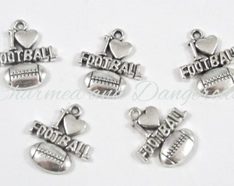 10 pewter I Love Football charms (CM5)