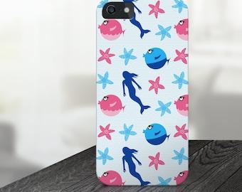 mermaid iphone case, ocean iphone case, fish iphone case, mermaid iphone 6 case, mermaid iphone 5 case, ocean iphone 6s case, star iphone