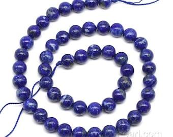 Lapis lazuli beads, 8mm round, blue lapis stone, lazuli gemstone beads, loose natural stone strand for making bracelet or necklace, LPS2040