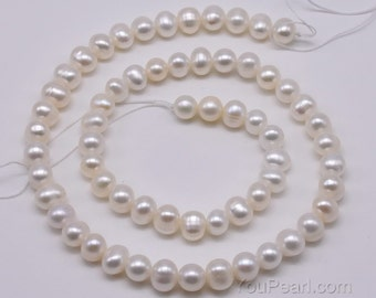 6-7mm potato freshwater pearl bead strands wholesale, genuine natural white pearl, loose pearls for neckalce or bracelet, FP350-WS