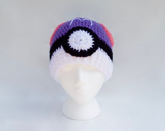 Masterball Pokemon hat - Crochet pokeball hat -  Crochet pokemon hat - pokemon go hat