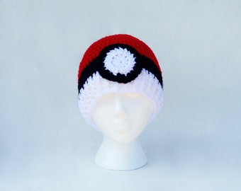Pokeball hat - crochet pokeball hat - crochet pokemon hat - pokemon go hats - pokemon hat