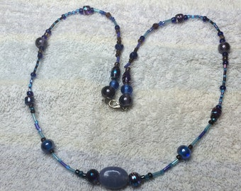 """Blue and Purple Glass-Beaded - 22 1/4"""" Necklace Art Glass, OAK (one of a kind) Hand-created by Myself, SS/Wire"""