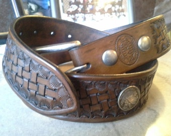 Leather basketweave handmade belt