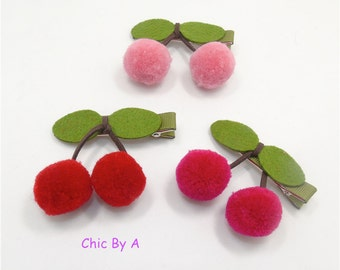 Set of 2, Cute Cherry Baby Infant Hair Clips, Baby Pink Hairpins, Girls, Toddler