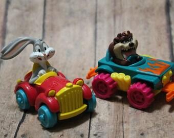 Looney Tunes toys-McDonald's Toy Cars-Bugs bunny car-Taz Car-Looney Tunes McDonald's Happy Meal-quack-up rolling car-crash cars