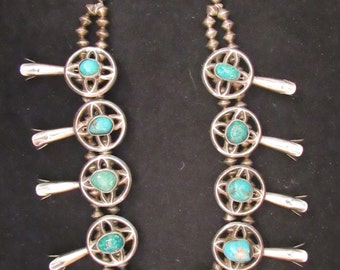 Vintage Native American Style Sterling Silver Turquoise Squash Blossom Necklace (0010)