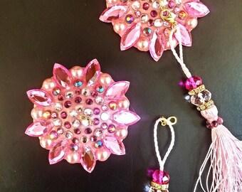 Pink Rhinestone burlesque pasties nipple tassels