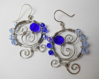 Silver and Blue Wire Wrapped Swirls and Beads
