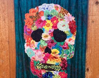 Golgotha/skull flower collage art quilt/day of the dead