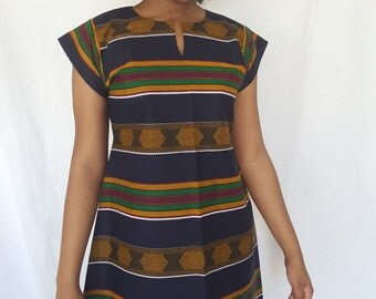 Trenzycreations African print Dark blue with stripes dress