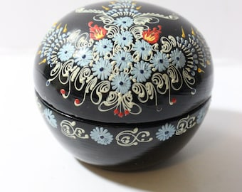 Black Laquer Hand Painted Trinket Box