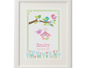 Baby Cross Stitch pattern birth announcement Birthday sampler Bird Flower personalized unique gift birth record new baby girl , baby shower