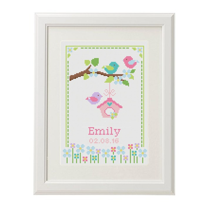 baby cross stitch pattern birth announcement birthday sampler
