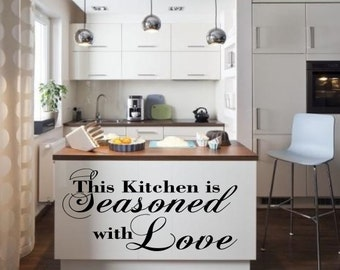 Kitchen seasoned with Love Inspirational  vinyl wall decor decoration Sticker family words  decal sticker cheap kitchen decorative Removable