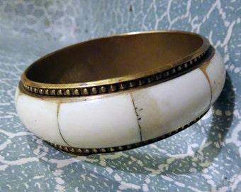 Brass and white bangle bracelet