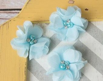 light blue mini chiffon flower, flower supplies, petite flower, craft supplies, large flower, fabric flower, headband supplies, blue flower