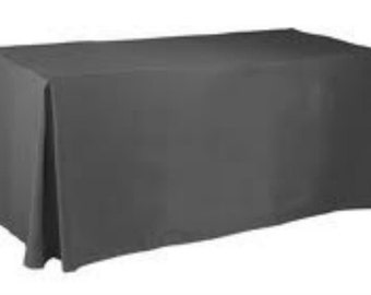 Fits 8 ft Table - Premium Elegance Fitted Table Cloths,table cloth,Trade show covers,Premium tablecloths, Black Polyester Tablecloths