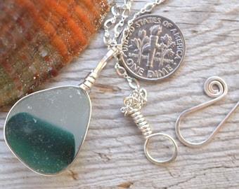 Green and white multi sea glass necklace