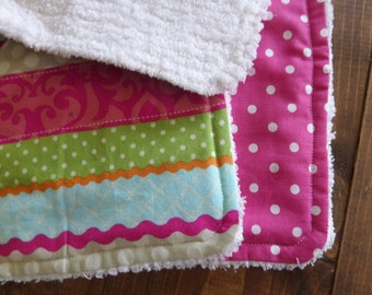 Baby Girl Burp Cloth, Modern Burp Cloths, Pink Burp Cloth Set