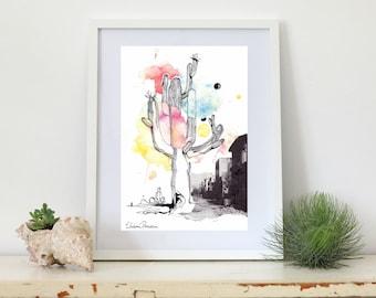 Couleur Cactus, A4 Print, Watercolor, ink, illustration, on archival paper