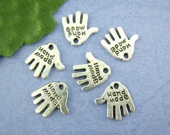 20 Pcs Silver Tone Hand PalmNecklace Bracelet  Charm Pendants 11x12mm  Ref : 00052