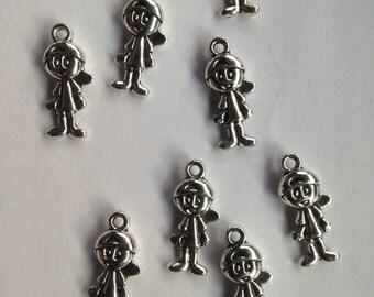 10 Silver Tone Boy Charm Bead  Pendants 18x8mm Ref 00017