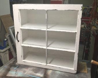 Medicine cabinet - rustic display cabinet - window wall cabinet - rustic wood windows - 6 pane window cabinet - shabby chic cabinet - shabby