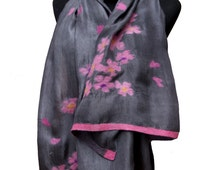 Pure Silk, Hand made Scarves Pansies